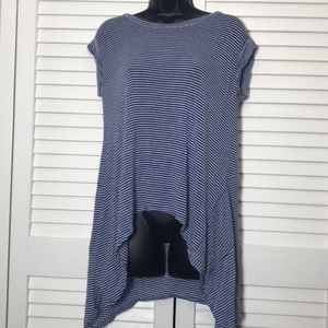 Click on Pic- Sheer Blue and White Striped Shirt